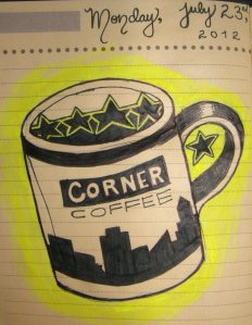 Corner Coffee cup drawing